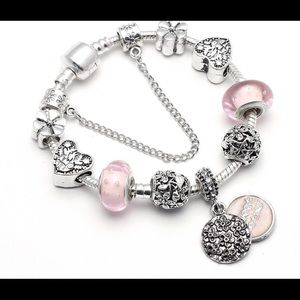 Jewelry - NEW crystal beaded charm bracelet pink silver